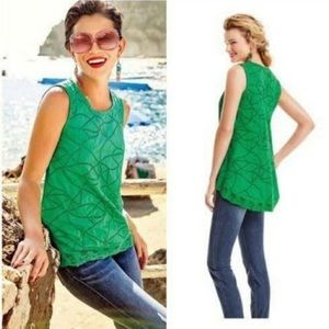 Cabi #5036 green eyelet swing tank top Size small
